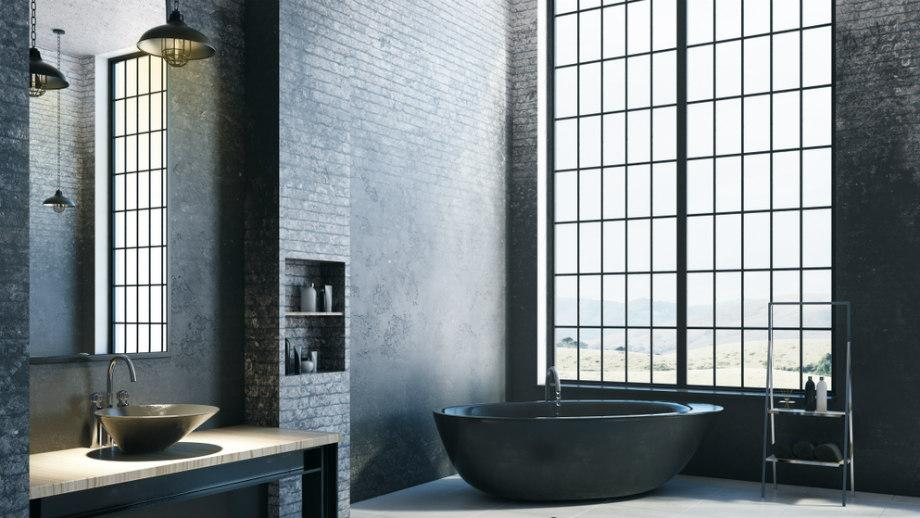 Elegantná kúpeľňa v podkroví - tmavá žiara
